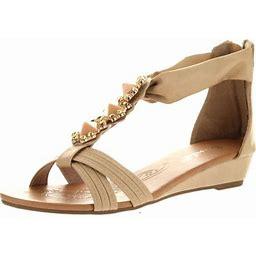 Bonnibel Womens Felice-2 Criss Cross T-strap Gem Back Zipper Low Wedge Sandals, Women's, Size: 7.5 B(Medium) US, Beige