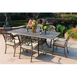Saratoga 7-Piece Gun Metal Aluminum Rectangle Dining Set With 6 Cushioned Arm Dining Chairs - Dessert Night/Spectrum Sand