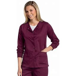 Landau All Day Women's Two Pocket Snap Front Scrub Jacket, Style 3507, Size: 5XL, Red