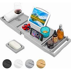 Artmalle Luxury Bamboo Bathtub Caddy Tray With Book And Wine Holder,Bath Accessories & Bed Tray With Extending Sides,Bathroom Organizer For Men/Wo
