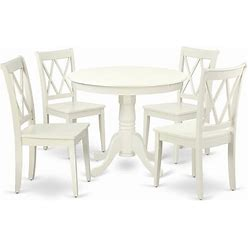 East West Furniture Antique 5-Piece Dining Set With Round Table In Linen White - ANCL5-LWH-W