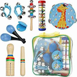 Musical Toys Instruments Set For Kids,Preschool Music Toy Wooden Percussion For Boys Including Tambourine,Rainmaker,Maracas,Early Development And