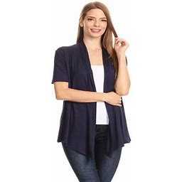 Moa Collection Women's Basic Casual Solid Short Sleeve Open Front Cardigan (s-3x) Made In USA, Size: Large, Blue