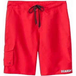 Sporti Guard Men's Essential Board Short (28, Solid Red)