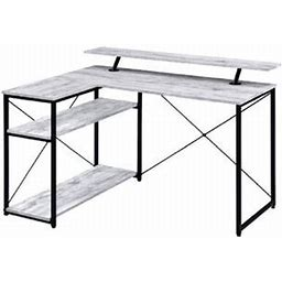 17 Stories Antique White & Black Finish Drebo Writing Desk Color (Top/Frame): Wood/Metal In Antique White/Black | Wayfair
