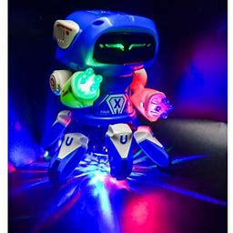 Dancing Robot Kids Toy Walking Electronic Smart Flashing Disco Light Up Music (Color May Vary), Red