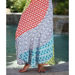 Ananda's Collection Women's Green - Red & Blue Floral Color Block Maxi Skirt - Women