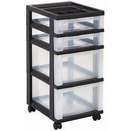 Iris USA 4 Drawer Medium Storage Cart With Organizer Top, Black/Clear, Size: 12.05