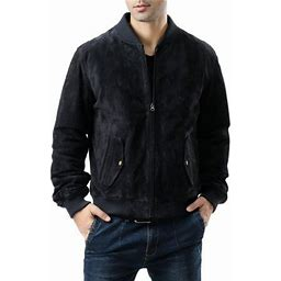 Bgsd Men's Classic Suede Leather Bomber Jacket With Zip Out Liner (Regular & Tall Sizes), Size: XL, Blue