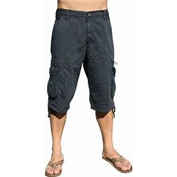 Stone Touch Jeans Mens Military Cargo Pocket Shorts, Navy, 91s-46, Men's, Blue