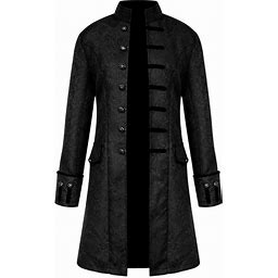 BoerMee Mens Gothic Steampunk Frock Coat Vintage Medieval Victorian Costume Tailcoat
