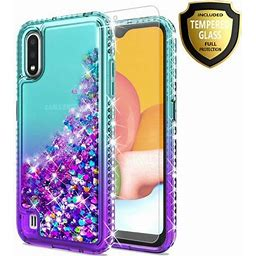 Motorola Moto E 2020 Phone Case, With [Tempered Glass Protector Included] Liquid Floating Glitter Quicksand Bling With Spot Diamond Cover - Teal/