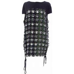 Rebecca Minkoff Women's Silk Side-Tie Shift Planet Dress Sz 4 Green & Black