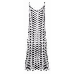 Vista Polka Dot Dress Women Sexy V Neck Pocket Strap Sleeveless Long Sundress Summer Loose Beach Vestidos, Women's, Size: XL, White