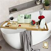 Rebrilliant Luxury Bamboo Bathtub Caddy Tray For Tub - Bath Stand Shower Drink Holder W/ Extending Sides In White, Size 1.28 H X 29.3 W X 8.7 D In