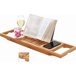 Bathtub Caddy Bamboo Bath Tub Holder Bathroom Tray Towel Glass Book Reading Rack Stand
