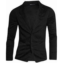 Unique Bargains Men's Classic Notched Lapel Blazer, Size: 42, Black