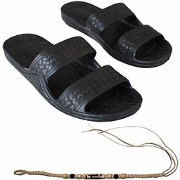 Sandal Hawaii Hawaii Brown Or Black Jesus Sandal Slipper For Men Women And Teen Classic Style With Natural Hemp Bracelet (Women Size 7, Black), Adult