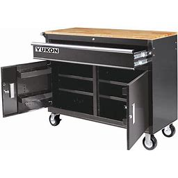 Yukon 46 In. Mobile Workbench With Solid Wood Top - Black