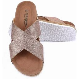 Seranoma Women's Comfort Slide Cork Sandals | Metallic Criss-Cross Straps, Size: 6, Gold