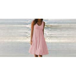 Women's Sundress Knee Length Dress - Sleeveless Summer Casual Hot Beach Vacation Dresses 2020 Blushing Pink XL 0000R