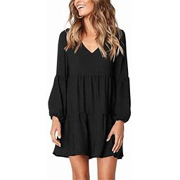 Vista Women's Long Sleeve Tunic Dress V Neck Loose Swing Shift Dresses, Size: Small, Black