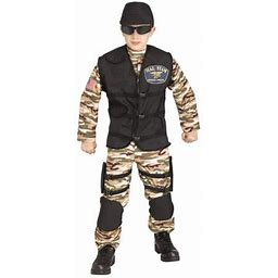 Fun World Seal Team Camo Soiler 4Pc Boy Costume, Medium 8-10, Green Brown Black, Boy's