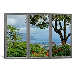 """Icanvas Hawaii Window View Photographic Print On Wrapped Canvas, Canvas & Fabric In Brown/Gray/Black, Size 12"""" H X 18"""" W X 0.75"""" D 