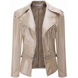 LEADOKO Womens PU Leather Jacket Biker Motorcycle Zip Up Cropped Coat Winter Outerwear, Women's, Size: Small, Beige