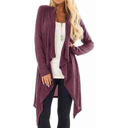 Nlife Women's Solid Color Asymmetric Hem Cardigan, Size: Large, Purple