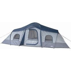 Ozark Trail 10-Person 3-Room Cabin Tent, With 2 Side Entrances, Gray