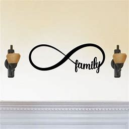 Family Forever Infinity Sign - Beautiful Solid Steel Home Decor Decorative Accent Metal Art Wall Sign, Size: 14 Length, Silver