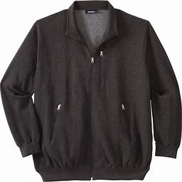 Kingsize Men's Big & Tall Full-Zip Fleece Jacket, Size: Big - XL, Gray