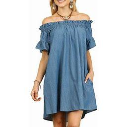 Vista Womens Summer Off The Shoulder Slash Neck Bardot Denim Look Shirt Dress Tops, Women's, Size: 2XL, Blue