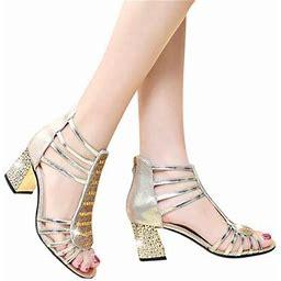 Zhongxinda Women Elegant Sandals Open Toe Sandals Women Fashion Crystal Decor Roman Style Thick Heel Anti-slip Zipper Open-toe Sandals Gold 23.5cm/