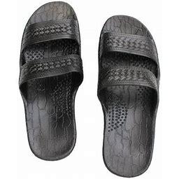 Surfware Hawaiian Black Rubber Slide On Sandal Slippers Double Strap, Dark Brown Hawaii Sandal, Men Size 12, Women's