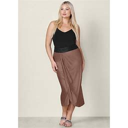 Women's Plus Size Faux Leather Waistband Detail Maxi Skirt - Brown, Size 1X By Venus