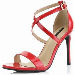 Dailyshoes High Heel Sandal For Women Heels Sandals Stiletto Criss Cross Strappy Open Toe Crossed Ankle Buckle Strap Slip Shoes Pump Red,pt,5, Women's