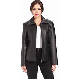 Bgsd Women's Tina Vertical Seam Leather Scuba Jacket (Regular & Plus Size), Size: 3XL, Black