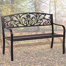 Outdoor Cast Iron Patio Park Garden Bench With Backrest, Size: 50 X 24