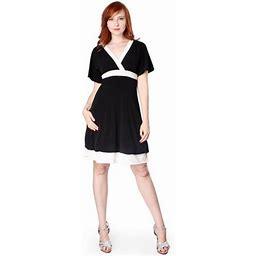 Evanese Women's Short Kimono Sleeve Bubble Skirt Casual Cocktail Day Dress, Size: XS, Black