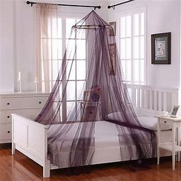 Oasis Round Hoop Sheer Bed Canopy In Purple - Epoch Hometex Inc. - Bed Curtains & Canopies - Bed Canopy - Purple