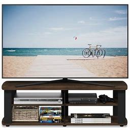 Furinno THE Entertainment Center TV Stand, Multiple Color Options, Size: Short 43.3(W)x13.4(H)x13.1(D), Brown