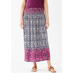 J. Jill Smocked Waist Printed Maxi Skirt Sz Large Tall Msrp $89