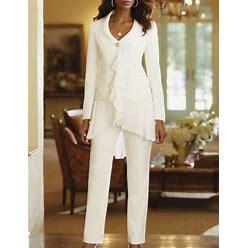 Pantsuit / Jumpsuit Mother Of The Bride Dress Plus Size Elegant V Neck Floor Length Polyester Long Sleeve With Lace 2021 Pool US 4 / UK 8 / EU 34 000