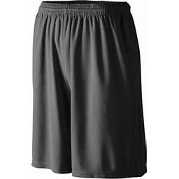 Augusta Sportswear Men's Longer Length Wicking Short W/ Pockets, Black, XX-Large, Size: 2XL