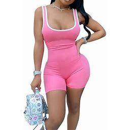 Multitrust Women Yoga Set Gym Sport Playsuit Workout Strappy Bodycon Jumpsuit, Women's, Size: XL, Pink