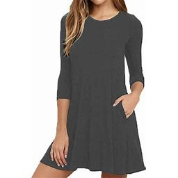 Vista Womens Round Neck 3/4 Sleeves A-line Casual Tshirt Dress With Pocket, Women's, Size: Medium, Gray