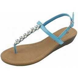 Star Bay New Women's Fashion Jewel Casual Crystal Buckles Strap Thong Flat Sandal Blue, Size: 10