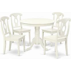 East West Furniture Antique 5-Piece Dining Table And Panel Back Chairs In White - ANKE5-LWH-W